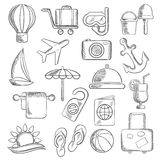 Loppet, resan och fritid skissar symboler Royaltyfri Bild