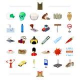 Loppet, teknologi, transport och annan rengöringsduksymbol i tecknad film utformar historia medicin som lagar mat symboler i upps royaltyfri illustrationer
