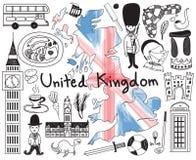 Loppet till Förenade kungariket England och Skottland klottrar teckningen vektor illustrationer