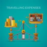 Loppet & turism uppta som omkostnad vektorbegrepp med jämviktsvåg i plan stil Royaltyfria Bilder