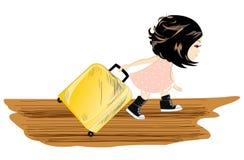 Loppflicka med bagage Arkivfoton