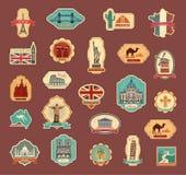 Loppklistermärkear och olika länder för symboler vektor illustrationer
