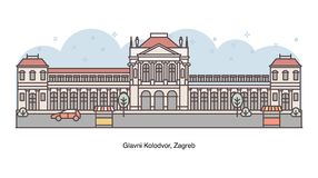 LoppKroatien - vektorlinje illustration av Glavni Kolodvor, Zagreb vektor illustrationer