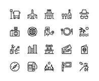 Lopplinje symboler För turismsommar för semestern turnerar det plana affärsföretaget för skogen för bagage för flygplanet, museum vektor illustrationer