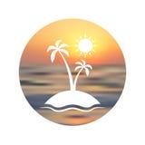 Lopplogo Touristic bakgrund Kontur av palmträdet på unfocused solnedgångbakgrund Arkivbild