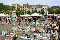 Loppmarknad i Bryssel, Belgien Arkivfoton