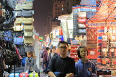 Loppmarknad i Mong Kok i Hong Kong Arkivfoton