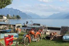 Loppmarknad i Montreux, Schweiz Arkivfoto