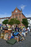 Loppmarknad på stället du Jeu de Balle i Bryssel, Belgien Fotografering för Bildbyråer