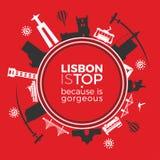 Loppmonument är Lissabon Arkivbild