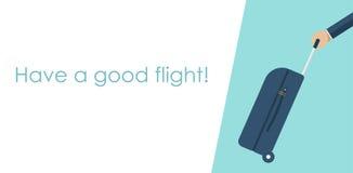 Lopppåse i hand på översiktsbakgrund Bärande resväska Fallhåll i hand Design för vektorillustrationlägenhet Royaltyfri Fotografi