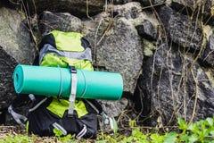 Loppryggsäck på naturbakgrunden Arkivfoto