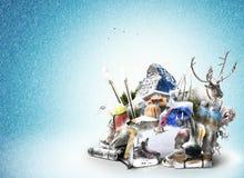 Loppryggsäckar med klättringutrustning stock illustrationer