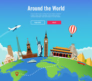 Loppsammansättning med berömda världsgränsmärken Resa och turism Begreppswebsitemall också vektor för coreldrawillustration royaltyfri fotografi