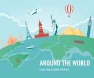 Loppsammansättning med berömda världsgränsmärken Resa och turism vektor Modern plan design vektor illustrationer