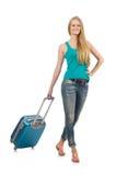 Loppsemesterbegrepp med bagage Arkivfoton
