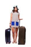Loppsemesterbegrepp med bagage på vit Fotografering för Bildbyråer
