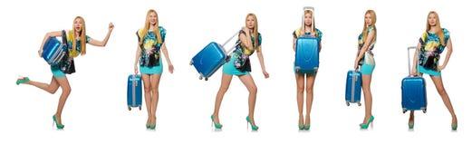 Loppsemesterbegreppet med bagage på vit Royaltyfri Foto