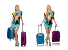 Loppsemesterbegreppet med bagage på vit Royaltyfria Foton