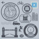 Loppstämpeluppsättning, London royaltyfri illustrationer