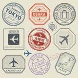 Loppstämplar eller affärsföretagsymboluppsättning, Japan flygplatstema royaltyfri illustrationer