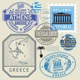 Loppstämplar eller symboluppsättning, Grekland tema royaltyfri illustrationer