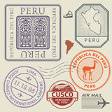 Loppstämplar eller symboluppsättning Peru, Sydamerika tema vektor illustrationer