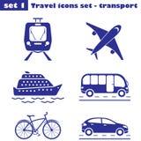 Loppsymbolsuppsättning - transport Arkivbild