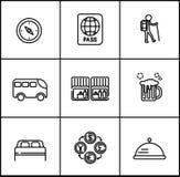 Loppvektorlinjer symboler sänker stil på vit bakgrund Royaltyfria Bilder