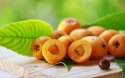 Loquat medlar on  table Stock Image
