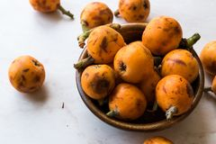 Loquat Plum Fruits / Eirobotrya Japonica Ready to Eat. Organic Food Royalty Free Stock Photography