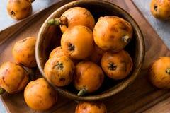 Loquat Plum Fruits / Eirobotrya Japonica Ready to Eat. Organic Food Stock Photography