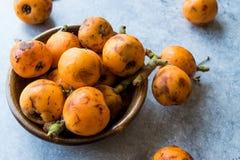 Loquat Plum Fruits / Eirobotrya Japonica Ready to Eat. Organic Food Royalty Free Stock Photo