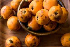 Loquat Plum Fruits / Eirobotrya Japonica Ready to Eat. Organic Food Stock Images