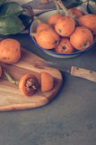 Loquats on kitchen counter Royalty Free Stock Image