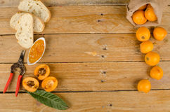 Loquats and marmalade Royalty Free Stock Photography