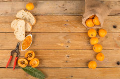 Loquats and marmalade stock photography