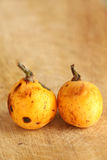 Loquats from organic farming. Detailed view of two loquats from organic farming, on a wooden cutting board, portrait cut stock image