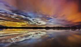 Lor lagoon. In Navarra photo of sunset Royalty Free Stock Photography