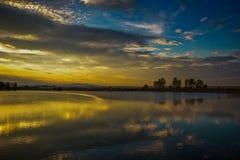 Lor lagoon. In Navarra photo of sunset Royalty Free Stock Photos