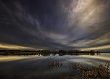 Lor lagoon. In Navarra photo of sunset Royalty Free Stock Photo