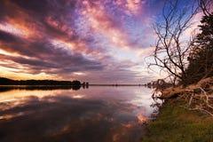 Lor lagoon. In Navarra photo of sunset Stock Photo