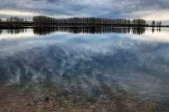 Lor lagoon. In Navarra photo of sunset Royalty Free Stock Images