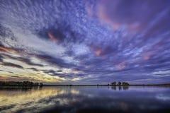 Lor lagoon. In Navarra photo of sunset Stock Image