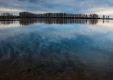 Lor lagoon. In Navarra photo of sunset Stock Photos