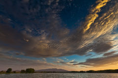 Lor lagoon. In Navarra photo of sunset Stock Images