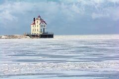 Lorain-Leuchtturm im Winter Stockbild