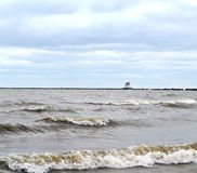 Lorain Lighthouse. At end of breaker wall Stock Photo
