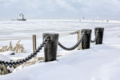 Lorain Lighthouse in Winter Stock Photography