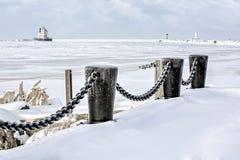 Lorainvuurtoren in de Winter stock fotografie